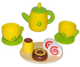 11 tlg. Set - Puppengeschirr mit Kuchen aus Holz - Kaffeekanne + Teller + Tassen - Geschirr - Kindergeschirr / Kaffeeservice / Teeservice - Spiel Küche Zubehör - für Kinder Mädchen Jungen - Teekanne