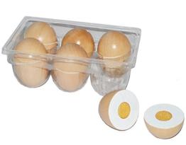 13 tlg. Set Eier aus Holz zum Schneiden - für Kinder Holzobst Eierset - Kaufmannsladen Zubehör Kaufladen Holzfrüchte - Schneideobst Holzobst - Klettverschluß Küche Kochen / Schneidefrüchte - Schneideset