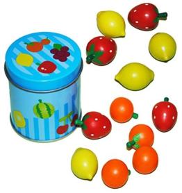 13 tlg. Set Holz Früchte - mit Metall Dose + einzelnen Früchten - Holzfrüchte Frucht / Kaufmannsladen Kaufladen Kinderküche - für Mädchen + Jungen - Obstladen Obstsorten - Erdbeeren Orangen Zitronen