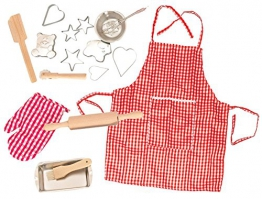 17 tlg. Kochset - Backset aus Metall + Küchenhelfer + Ausstechformen + Nudelholz + Topflappen + Schürze - Geschirr - Spiel Set Kochgeschirr - Küche Zubehör - für Kinder - Kindergeschirr - Puppengeschirr - rosa für Mädchen - Kinderbackset