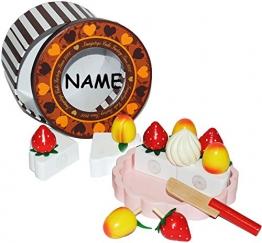 17 tlg. Set: Schneide Torte - mit Tortenschachtel + einzelnen Früchten und Messer aus HOLZ - Geburtstagstorte für Kinder Geburtstagskuchen zum Schneiden - Holztorte / Holzobst mit Klettverschluß