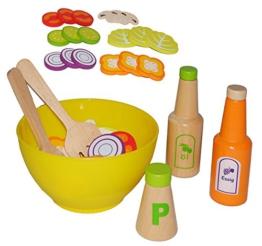 24 tlg. Set Salatschüssel + Salat + Dressing - aus Holz - für Kinder Holzobst Früchteset - Kaufmannsladen Zubehör Kaufladen Holzfrüchte - Holzobst Holzgemüse - Küche Kochen / Gemüse Obst