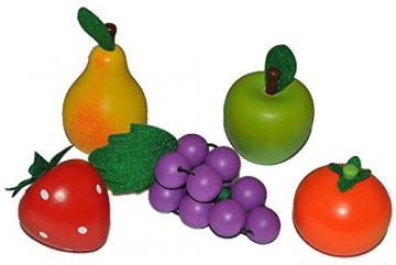 5 tlg. Set Früchte / Obst aus Holz - für Kinder Holzobst Früchteset Kaufmannsladen Zubehör Kaufladen Holzfrüchte
