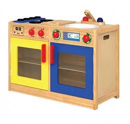6 in 1 Küche / Vorderseite mit Spüle+Spülmaschine, Herd+Backofen, Rückseite: Waschmaschine und Schrank / Material: Holz / Maße: 34x79x54 cm