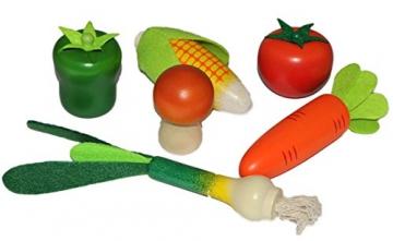 6 tlg. Set Früchte / Gemüse aus Holz – für Kinder Holzgemüse Früchteset Kaufmannsladen Zubehör Kaufladen Holzfrüchte -