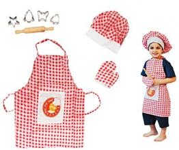 8 tlg. Kochset / Backset aus Metall + Küchenhelfer + Ausstechformen + Topflappen + Schürze + Kochmütze - Geschirr - Spiel Set - Küche Zubehör - für Kinder - Kindergeschirr - Puppengeschirr - für Mädchen Jungen - Kinderbackset - Mütze / Koch