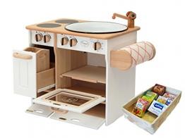 932-2044 DL Drewart Kinderküche mit Zubehör Spielküche Massivholz weiß