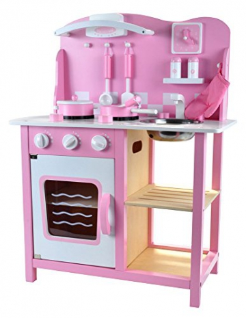 Bandits & Angels Holz Kinderküche Rosa/Pink mit Zubehör