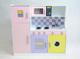 Best For Kids Kinderküche W10C004 Spielküche aus Holz mit Kühlschrank und Zubehör Top Qualität aus MDF Platte W10C004