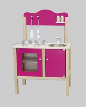 Combi-Küche / Kinderküche in pink mit Zubehör aus Holz / Maße: 54 x 83,5 x 30 cm - Arbeitshöhe: 48 cm / mit Aufbauanleitung