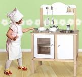 Combi-Küche / Spielküche / Kinderküche in weiss mit Zubehör aus Holz / Maße: 54 x 83,5 x 30 cm - Arbeitshöhe: 48 cm / mit Aufbauanleitung
