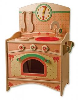 Dida - Kinderküche klein, kompakt, Trio: Spüle, Herdplatten, Backofen - komplette Höhe 57 cm, Höhe bis zur Arbeitsfläche 34 cm, Dekoration: Schleifen, Lernspielzeug.