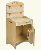 Dida - Spielküche, Kühlschrank, Teil der zusammensetzbaren Küche aus Holz für Kinder, komplette Höhe 77 cm, Höhe bis zur Arbeitsfläche 46 cm, auch einzeln verkaufbar.