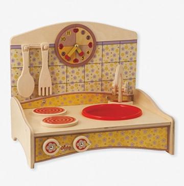 Dida - mini Spielküche mit gelber Dekoration -komplette Höhe 33 cm -Lernspielzeug