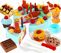 Fun Play-Food-Spielen Kitchen Set für Kinder über 3Years, Obstkuchen , Blau