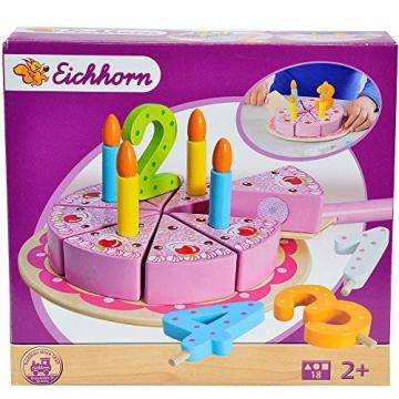 Geburtstagskuchen mit Kuchenplatte, Zahlen und 4 Kerzen, 20cm ø: Spielzeug Holz Kuchen Holztorte Kinderküche Schneide Torte