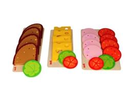 Goki Brotscheiben, Wurstscheiben und Käseaufschnitt, mit Salat- und Gemüsebeilage, im Bambilino® Set Brot, Wurst, Käse für Kaufmannsladen & Spielküche