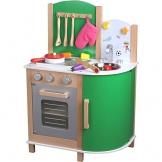 Große Holz Kinderküche grün, 52cm Arbeitshöhe, Klickgeräusche, Magnetboard: Spielküche Holzküche Holz-Spielzeug Kinder Küche