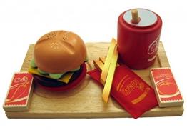 Hamburger Menü (Tablett, Hamburger, Cola, Ketchup, Chilisauce, Pommes) / Material: Holz/Stoff / für Kinder ab 3 Jahren
