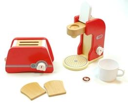 Haushaltsset: Toaster + Kaffeemaschine / mit verschiedenen Zubehörartikeln / Material: Holz / für Kinder ab 3 Jahren geeignet