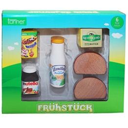 Holz Frühstücksset für Kaufläden und Kinderküchen, Nutella, Butter, Brot | Kaufladen Zubehör Lebensmittel Kaufmannladen Spielküche Zubehoer