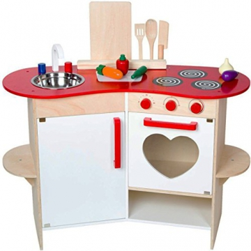 Holz Kinder Küche mit Herz-Design, Zubehör, mit Geräuschen, 80x81 cm - Spielküche Spielzeug-Küche Zubehör
