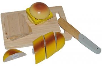 Holz Set zum Schneiden - Brot Toast Messer Hamburger Schneidebrett - für Kinder Holzfrüchte Kaufmannsladen Zubehör Kaufladen Holzfrüchte mit Klettverschluß