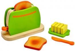 Idena 4100073 - Kleine Küchenmeister Toaster aus Holz, 9 teiliges Set, circa 16,5 x 7 x 11 cm