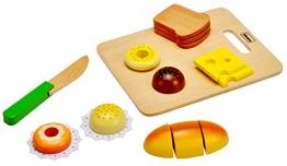 Idena 4100102 - Kleine Küchenmeister Brotzeit aus Holz, 14 teiliges Set, circa 20 x 16 x 4 cm