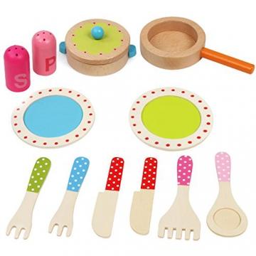 Infantastic Holzgeschirr-Set inkl. Teller, Pfanne uvm. Kinderküchenzubehör für die Kinderküche in bunten Farben