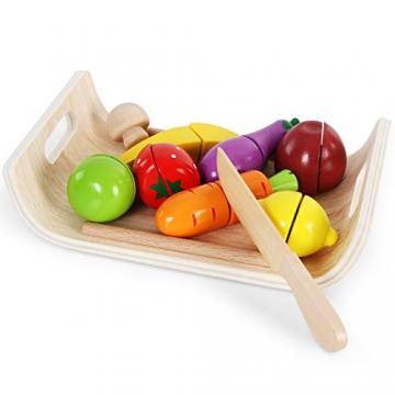 Infantastic Spielzeug-Schneidebrett Frühstücksset aus Holz als Küchenzusatz mit Obst- und Gemüsespielzeug und halbrundem Brettchen