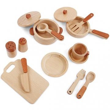 Infantastic Umfangreiches Holz-Geschirrset im Naturlook 15-teilig Spielgeschirr robustes Holzspielzeug