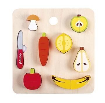 Janod Holzspielzeug - Gemüse Obst Set Schneidebrett Messer - Kinderküche, 25cm, Mehrfarbig