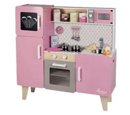 Janod Holzspielzeug - Große Kinderküche Spielküche Holzküche - Geräusche und Licht- Pastelltöne, 100 x 33 x 100cm, Mehrfarbig
