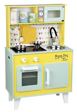 Janod Holzspielzeug - Kinderküche Spielküche Holzküche - Happy Day- Pastelltöne, Mint 55 x 30 x 27cm, Mehrfarbig