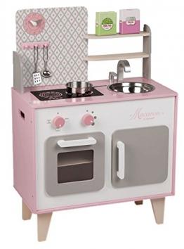 Janod Holzspielzeug - Kinderküche Spielküche Holzküche - Pastelltöne, 78x53x30cm, Mehrfarbig