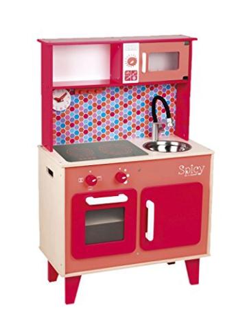 Janod Holzspielzeug - Kinderküche Spielküche Holzküche - Uhr Ofen Waschbecken, 87x55x30cm, Mehrfarbig