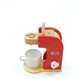 Kaffeemaschine mit Kaffeepad, Kaffeetasse und drehbarem Schalter mit Klickgeräuschen / Material: Holz / für Kinder ab 3 Jahren geeignet