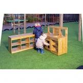 Kinder outdoor Küche aus Kiefernholz (FSC) imprägniert - 112 x 46,5 x 92 cm