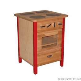 Kinderherd Spielküche Kinderküche aus Massiv-Holz natur-rot