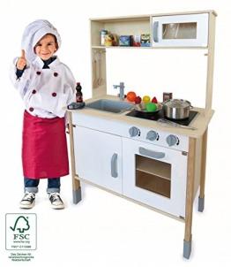 Kinderküche Holz Spielküche mit Aufsatz und viel Zubehör