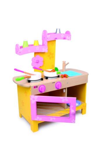 Kinderküche Küche Nena aus Holz, in pastelligen Farben, mit allerlei Zubehör für realistisches Spielgefühl, für kleine Köche ab 3 Jahre