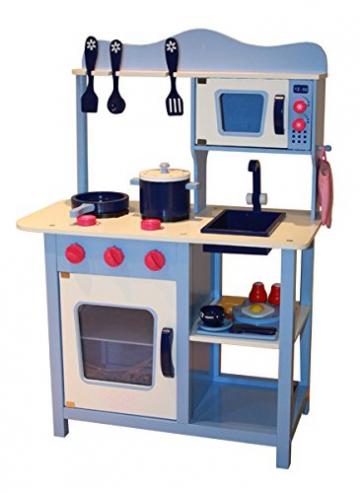 Kinderküche Spielküche BLAU aus Holz mit Zubehör - 100cm x 60 cm x 45 cm