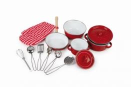 Kochgeschirr aus Metall für Kinderküchen, 13-teilig, inklusive Topfhandschuh und Küchenhelfer