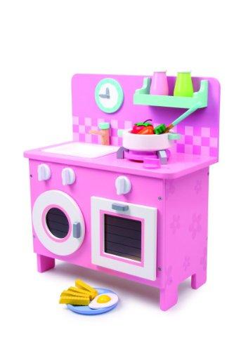 """Legler Küche """"Rosali"""" aus Holz, in pastelligen Farben, mit allerlei Zubehör für realistisches Spielgefühl, kompaktes Design für den Transport geeignet, für  kleinen Köchinnen ab 3 Jahre"""