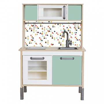 Limmaland - Möbelfolie Trianglig passend für die IKEA Kinderküche Duktig (Farbe Mint) - Kinderzimmer Dekoration