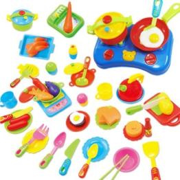 Peradix Küchen Spielzeug Set 60 teilig mit Messer, Gabel, Teller, Messkännchen, Herd, Pfanne und Schüssel, das besondere Geschenk