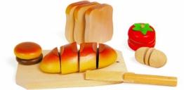 Schneidespielzeug aus Holz, 5 verschiedene Lebensmittel zum Zerteilen und Zusammenfügen, inkl. kleinem Brettchen, Tablett und Messer