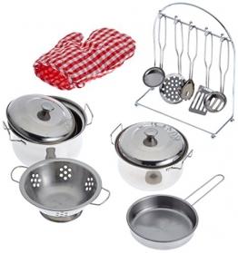 Small Foot Company 8968  Kochgeschirr aus Metall für Kinderküchen, 13-teilig, inklusive Topfhandschuh und Küchenhelfer