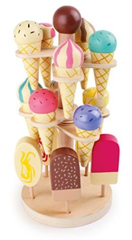 Small Foot by Legler Eisständer aus Holz, 15 Eissorten am Stiel oder in der Waffel, für den Kaufladen